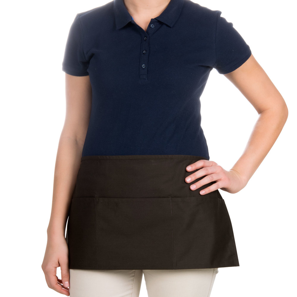 "Choice 12"" x 24"" Brown Front of the House Waist Apron"
