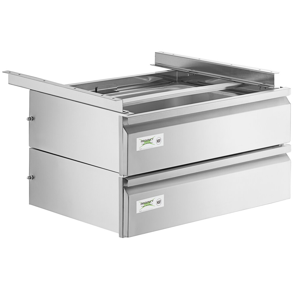 Regency 15 inch x 20 inch x 5 inch Double-Stacked Drawer Set with Stainless Steel Front