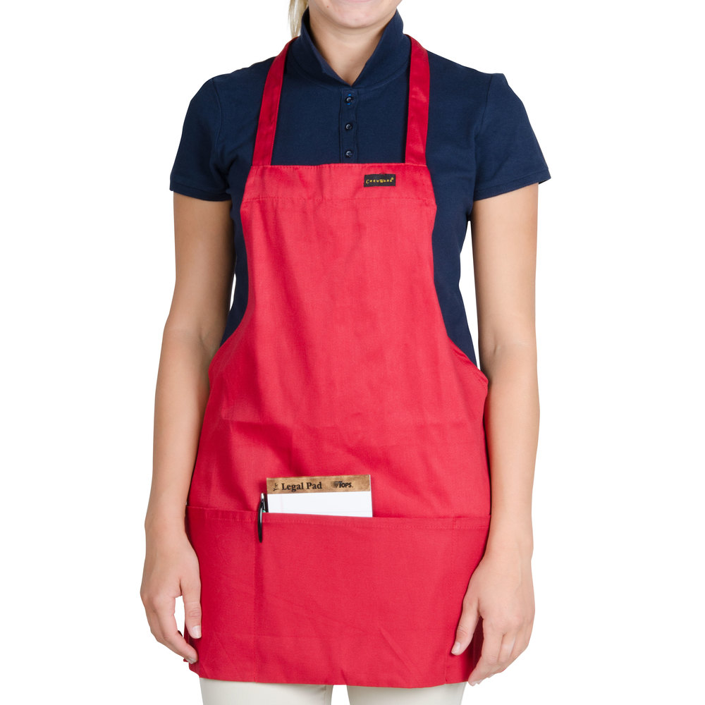 "Chef Revival 602BAFH-RD Customizable Professional Front of the House Red Bib Apron - 28""L x 25""W"