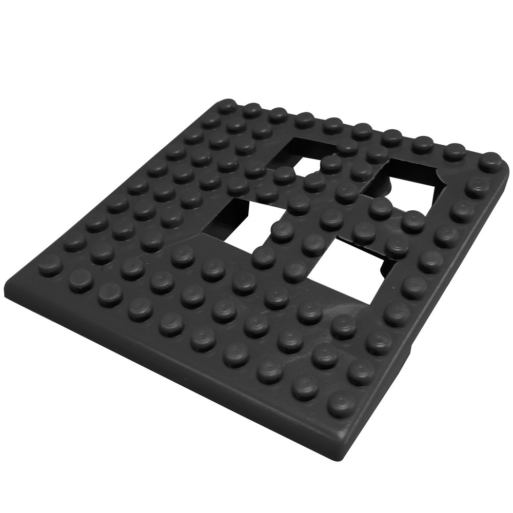 "Cactus Mat 2554-CC Dri-Dek 2"" x 2"" Black Vinyl Interlocking Drainage Floor Tile Corner Piece - 9/16"" Thick"