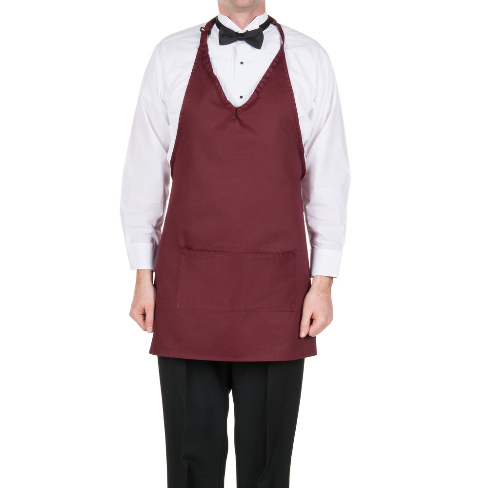 "Choice 32"" x 29"" Burgundy Tuxedo Full Length Bib Apron with Pockets"