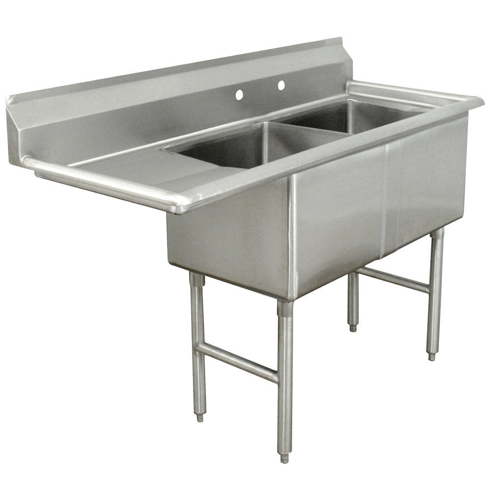 Left Drainboard Advance Tabco FC-2-2424-18 Two Compartment Stainless Steel Commercial Sink with One Drainboard - 68 1/2""