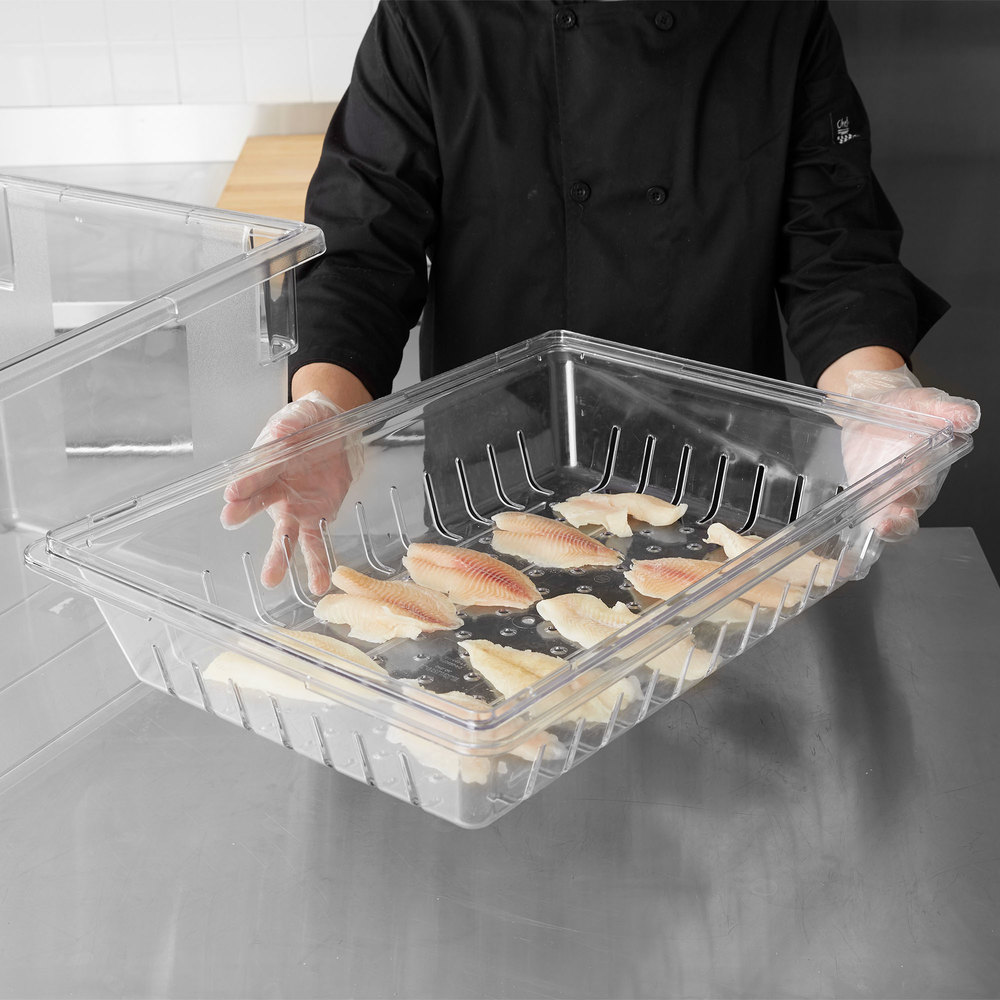 "Carlisle 1062807 18 ""x 26"" x 5"" Clear Food Box Deep Drain Tray"
