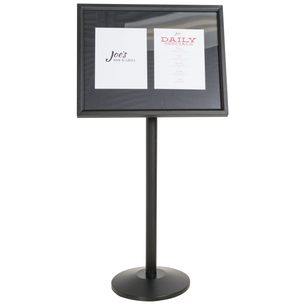 Aarco P 5bk Black Single Pedestal Sign Board