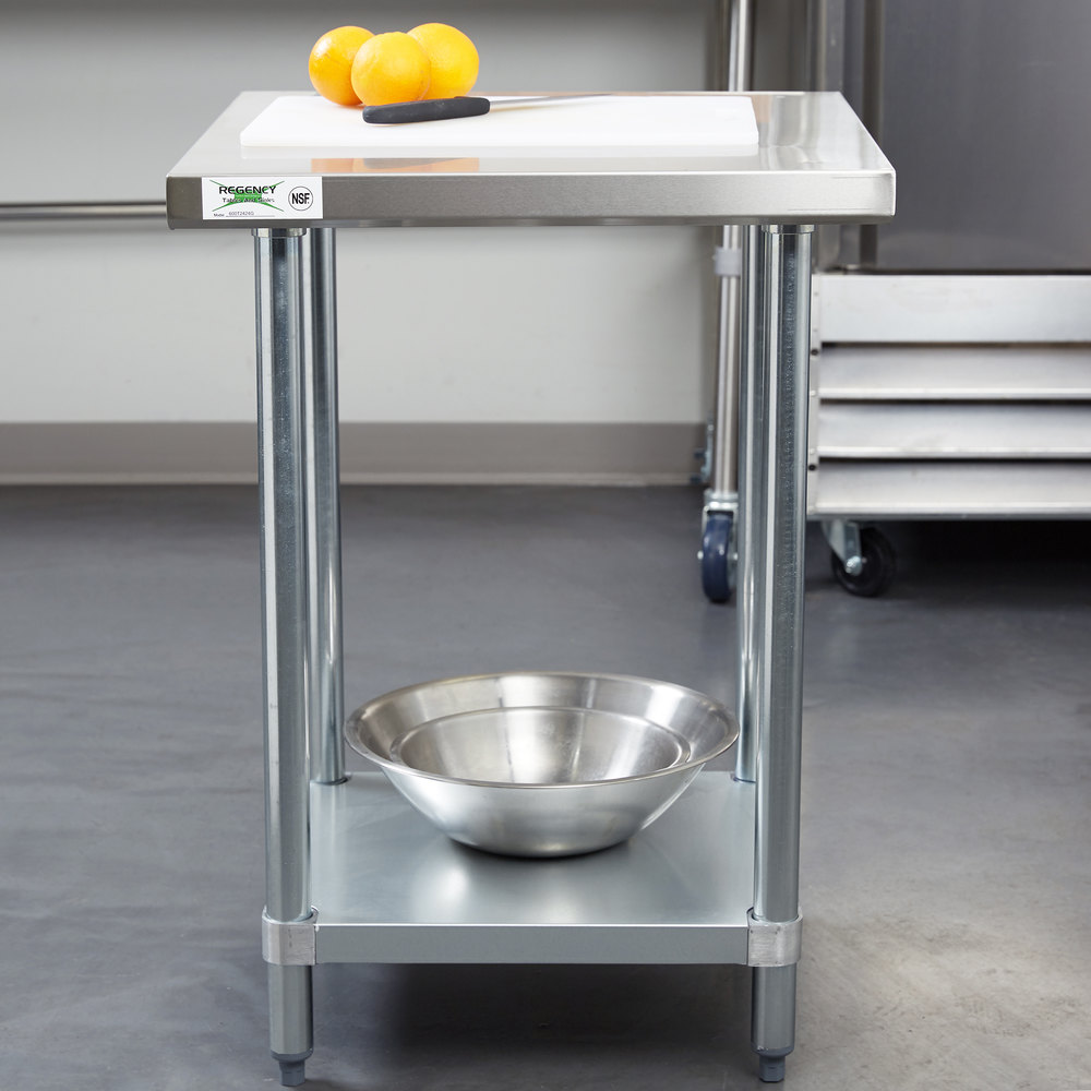 "Regency 24"" x 24"" 18-Gauge 304 Stainless Steel Commercial Work Table with Galvanized Legs and Undershelf"