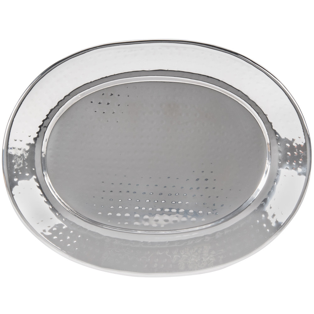 "American Metalcraft HMOST1115 15"" Oval Hammered Stainless Steel Serving Tray"