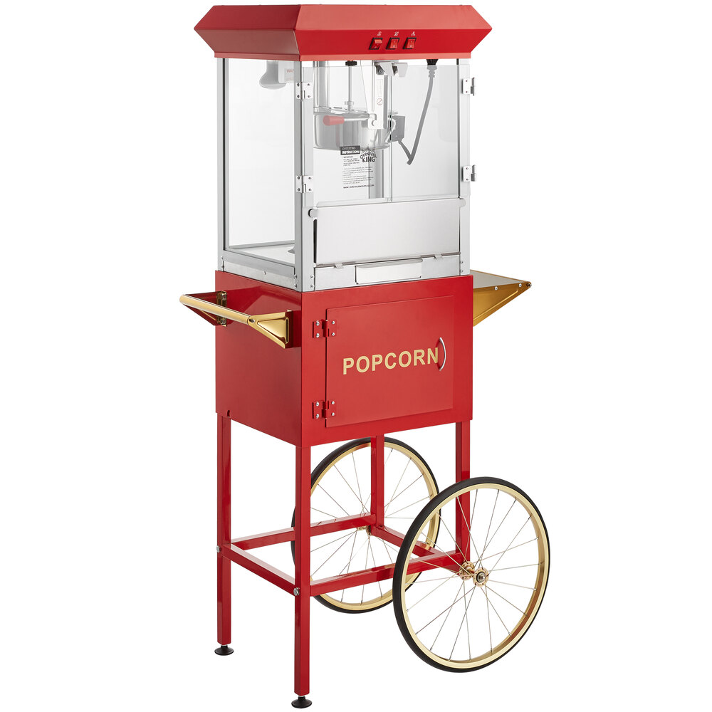 Carnival King Popcorn Popper Starter Kit with 8 oz. Popper, Cart, and Supplies - Popper with Regular Popcorn