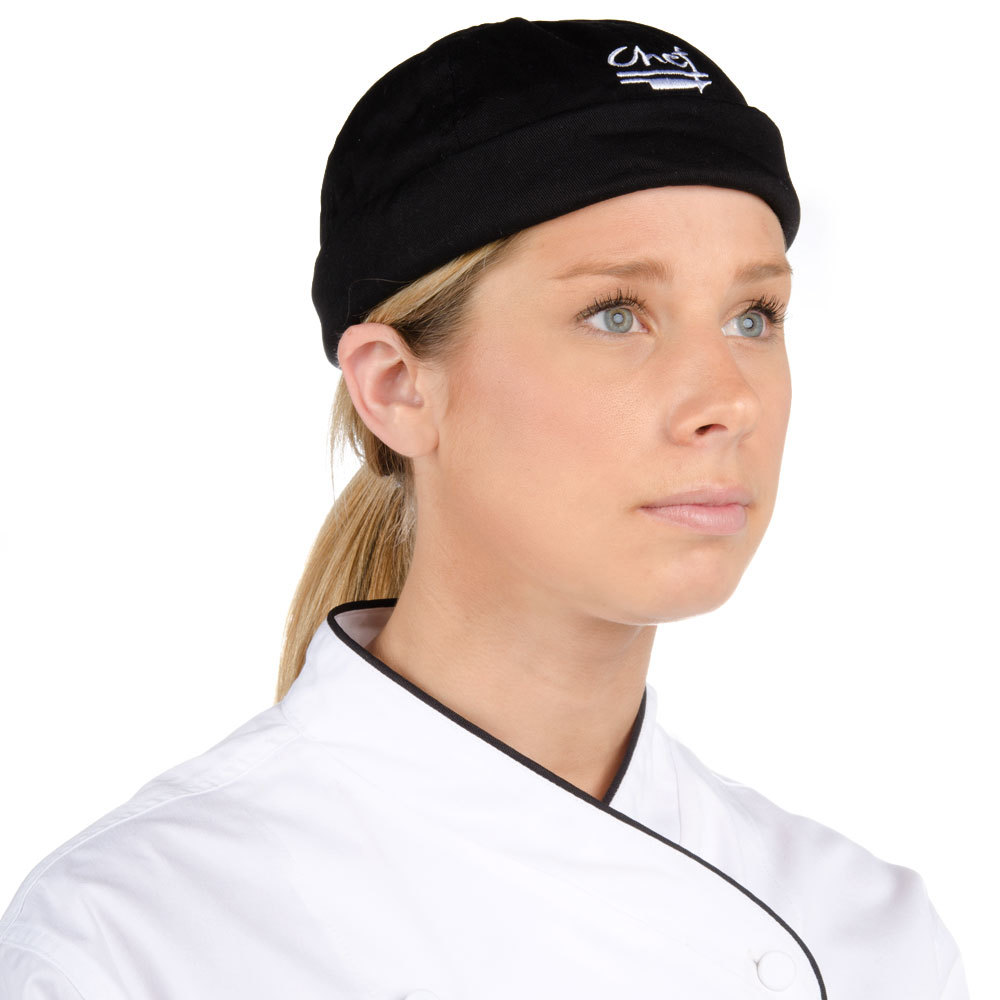 Chef Revival H060BK Black 100% Cotton Chef Beanie with White Logo