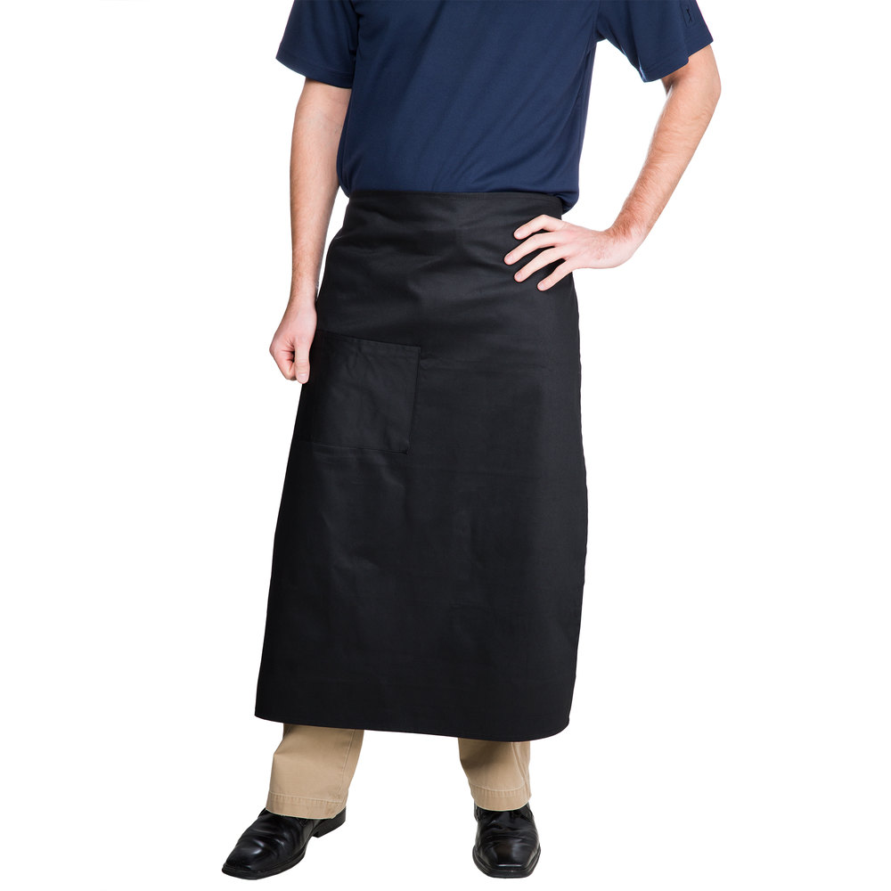 "Choice Black Bistro Apron with Pocket - 34""L x 30""W"