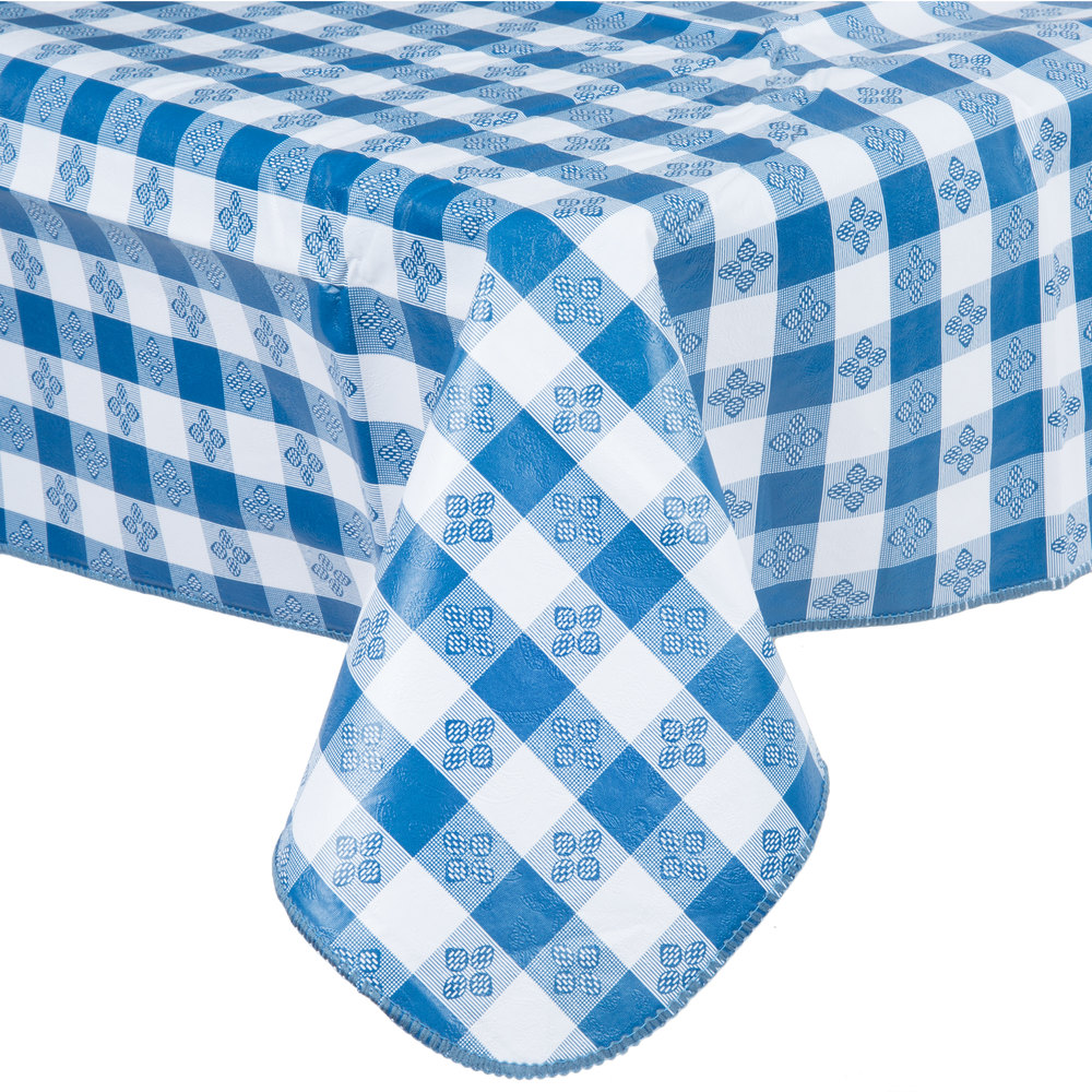 52 Quot X 52 Quot Blue Gingham Vinyl Table Cover With Flannel Back