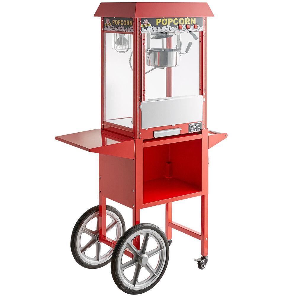 Carnival King Popcorn Popper Royalty Starter Kit with 8 oz. Popper, Cart, and Supplies - 120V, 1350W - Regular Popcorn