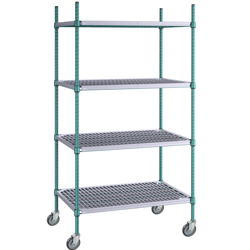Regency 24 inch x 36 inch Green Epoxy Polymer Drop Mat 4-Shelf Kit with 64 inch Posts and Casters