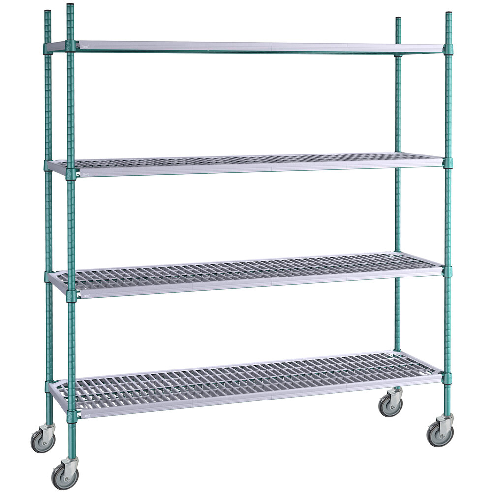 Regency 18 inch x 60 inch Green Epoxy Polymer Drop Mat 4-Shelf Kit with 64 inch Posts and Casters