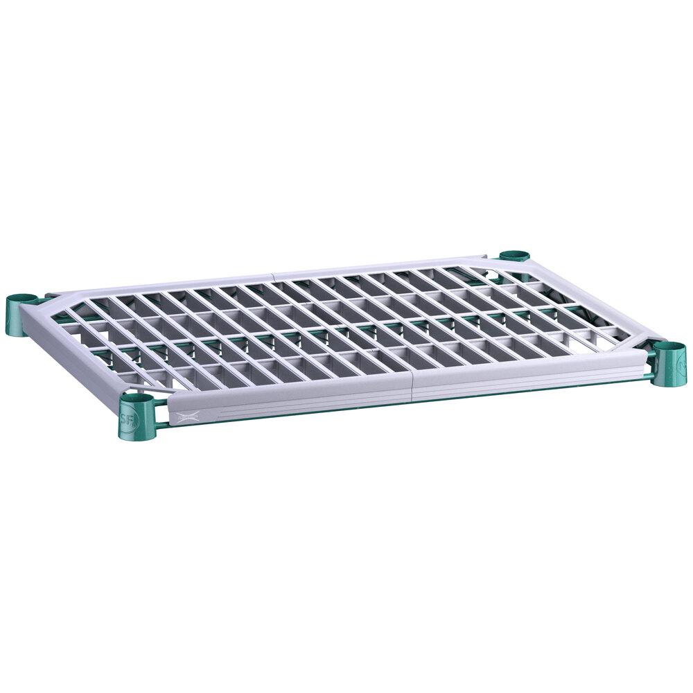 Regency 18 inch x 24 inch Green Epoxy Shelf with Polymer Drop Mat