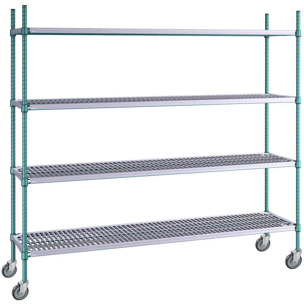 Regency 18 inch x 72 inch Green Epoxy Polymer Drop Mat 4-Shelf Kit with 64 inch Posts and Casters