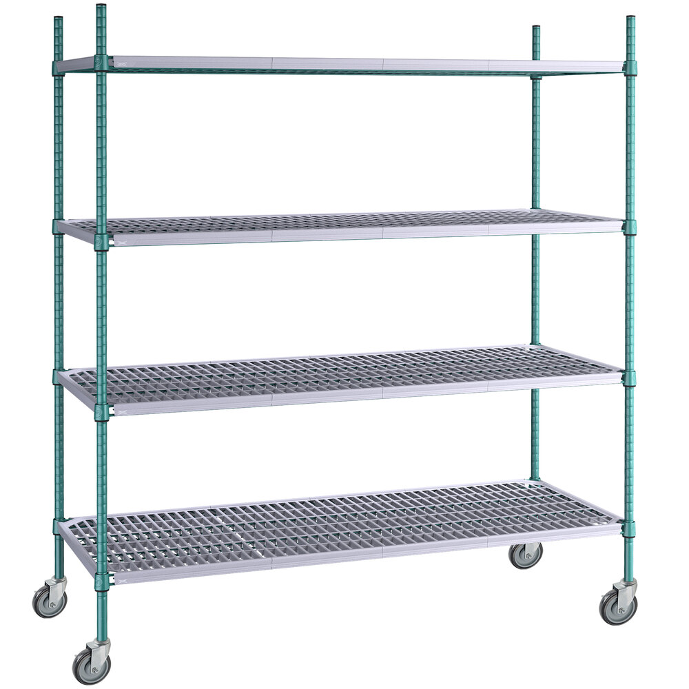 Regency 24 inch x 60 inch Green Epoxy Polymer Drop Mat 4-Shelf Kit with 64 inch Posts and Casters