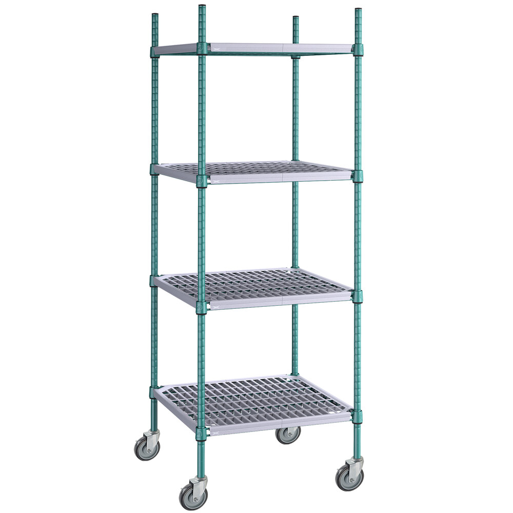 Regency 24 inch x 24 inch Green Epoxy Polymer Drop Mat 4-Shelf Kit with 64 inch Posts and Casters