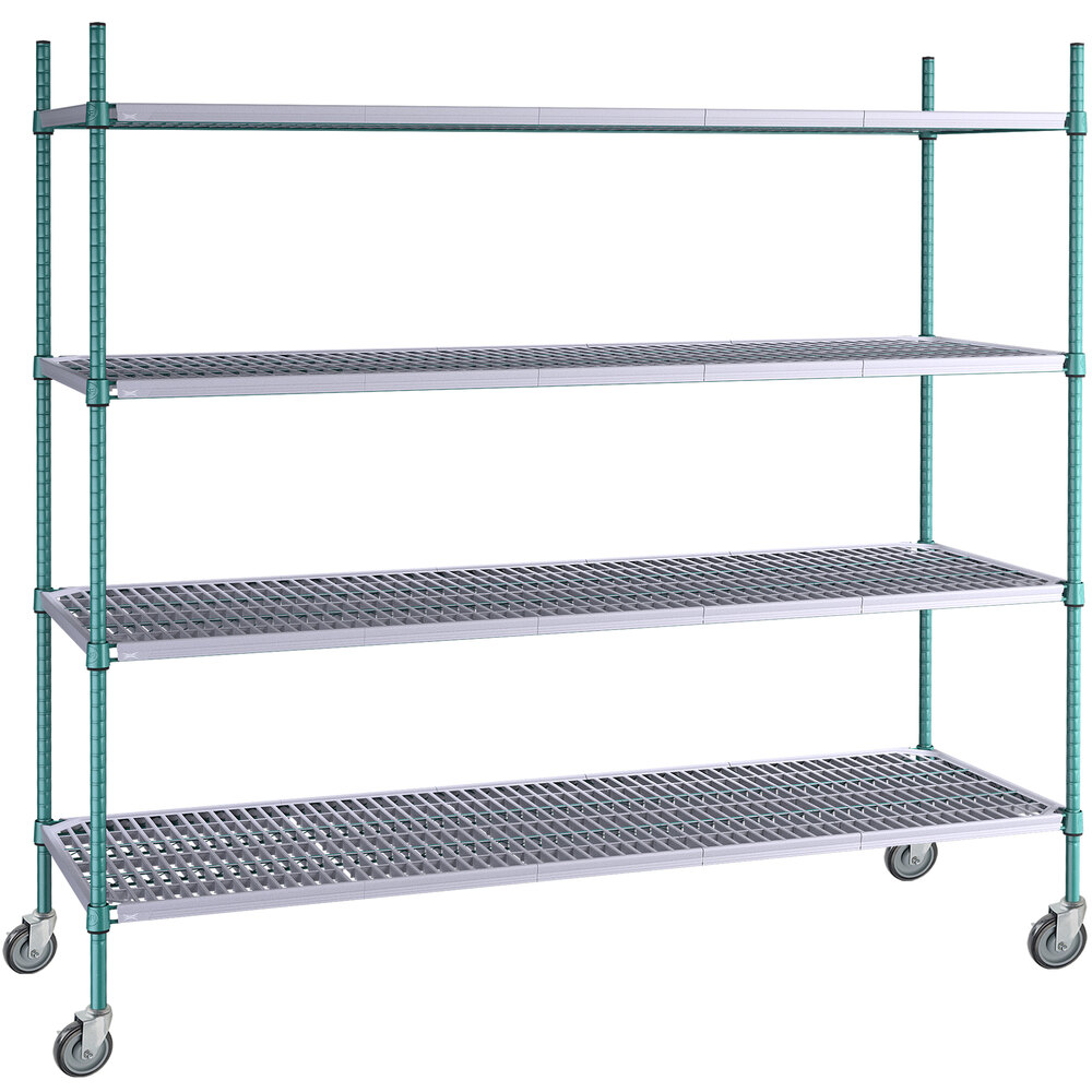 Regency 24 inch x 72 inch Green Epoxy Polymer Drop Mat 4-Shelf Kit with 64 inch Posts and Casters