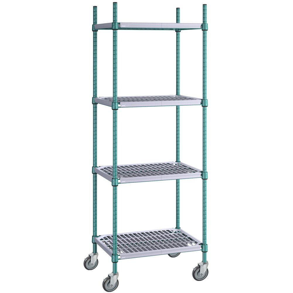 Regency 18 inch x 24 inch Green Epoxy Polymer Drop Mat 4-Shelf Kit with 64 inch Posts and Casters