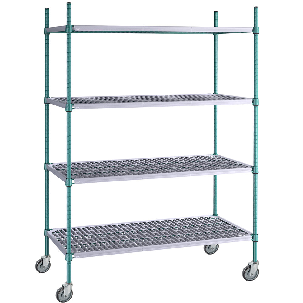 Regency 24 inch x 48 inch Green Epoxy Polymer Drop Mat 4-Shelf Kit with 64 inch Posts and Casters