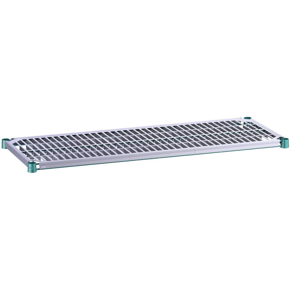 Regency 18 inch x 48 inch Green Epoxy Shelf with Polymer Drop Mat
