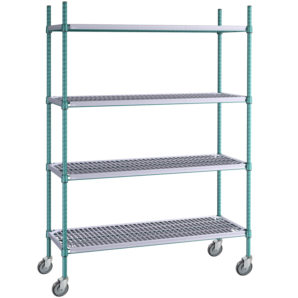 Regency 18 inch x 48 inch Green Epoxy Polymer Drop Mat 4-Shelf Kit with 64 inch Posts and Casters