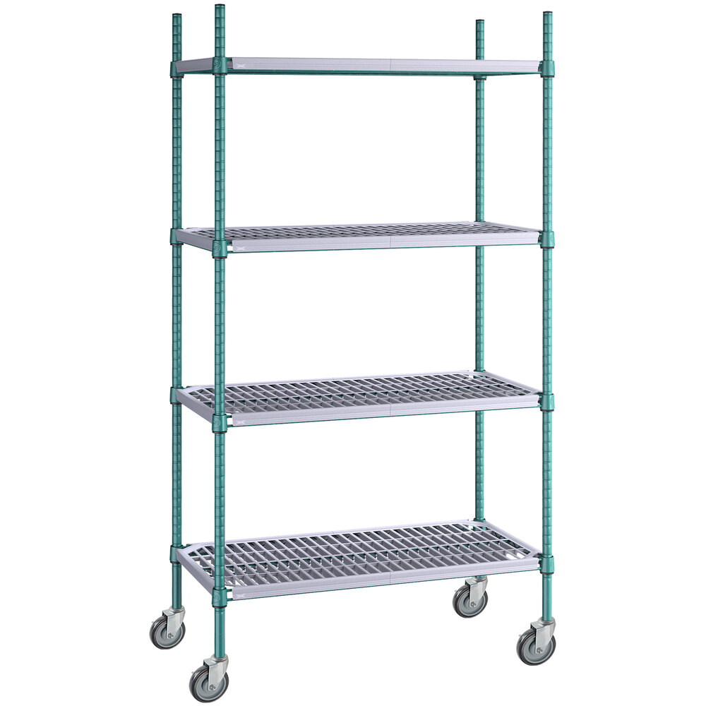 Regency 18 inch x 36 inch Green Epoxy Polymer Drop Mat 4-Shelf Kit with 64 inch Posts and Casters