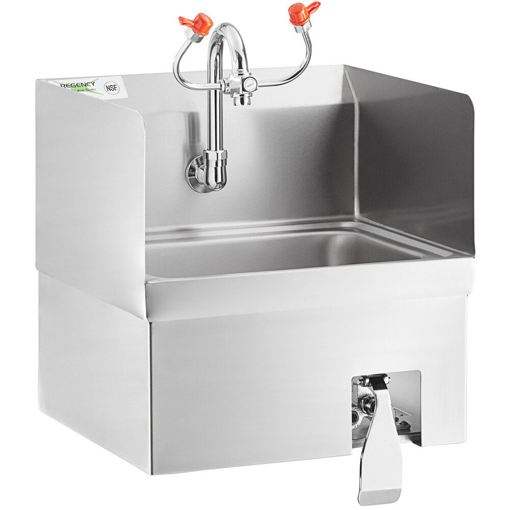Regency 17 inch x 15 inch Wall Mounted Hands-Free Hand Sink with Knee Operated Eyewash Station and Side Splashes