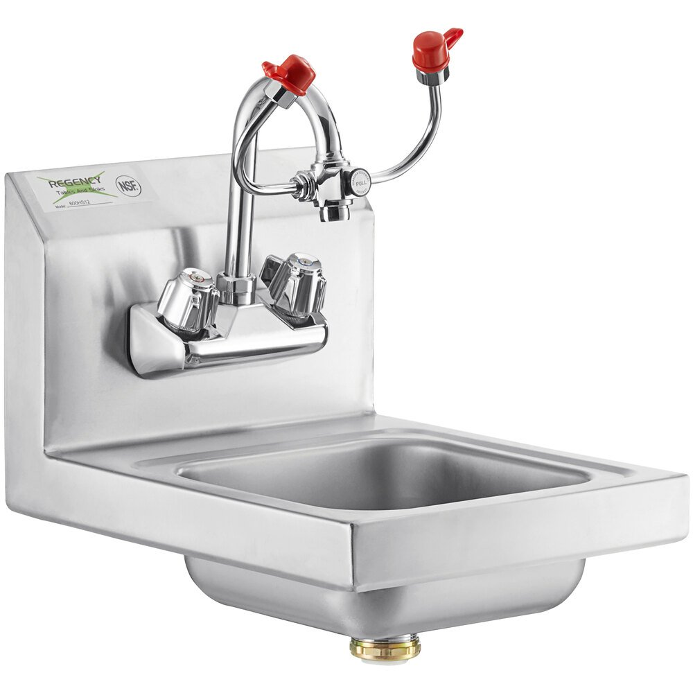 Regency 12 inch x 16 inch Wall Mounted Hand Sink with Eyewash Station