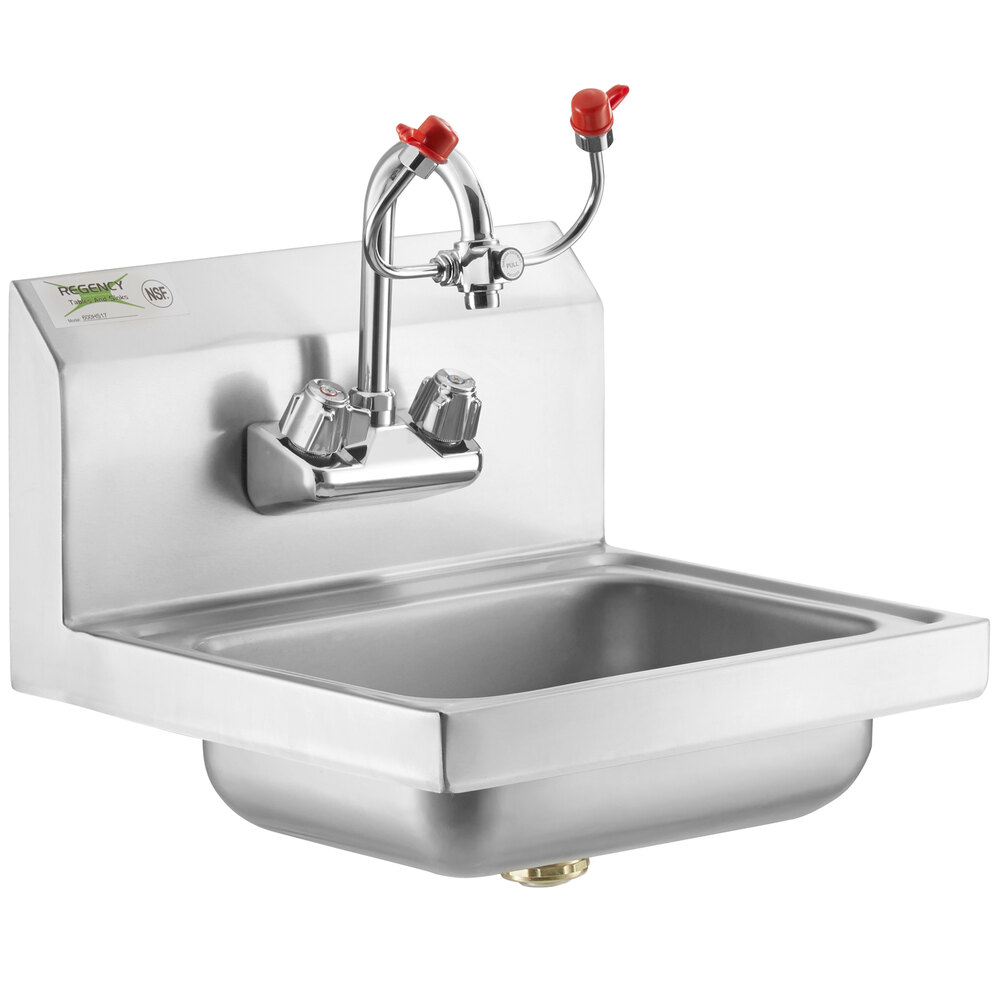 Regency 17 inch x 15 inch Wall Mounted Hand Sink with Eyewash Station