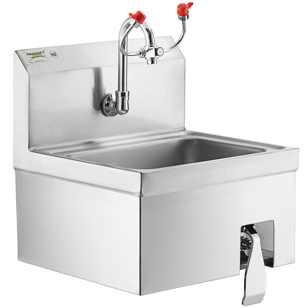 Regency 17 inch x 15 inch Wall Mounted Hands-Free Hand Sink with Knee Operated Eyewash Station