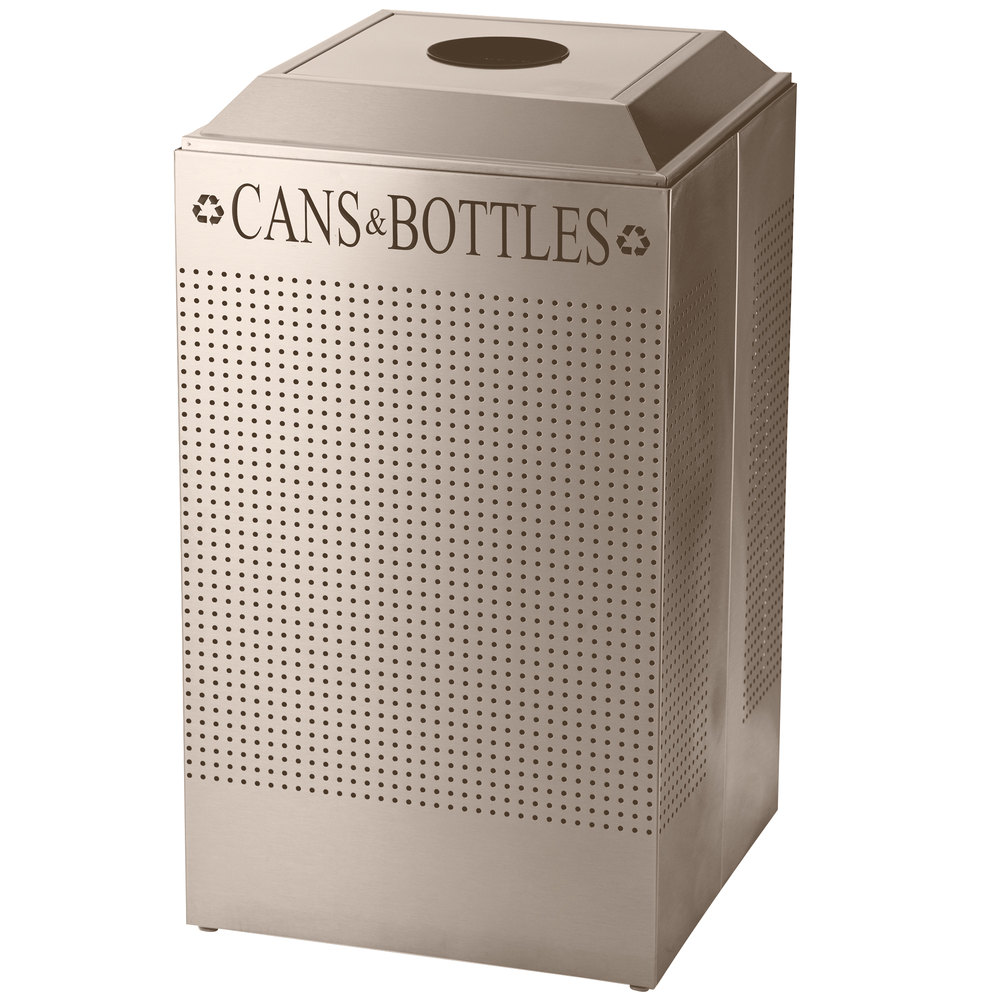 Rubbermaid DCR24C Silhouettes Desert Pearl Recycling Receptacle for Cans / Bottles - 29 Gallon (FGDCR24CDP)