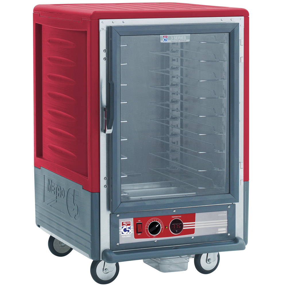 Metro C535-HFC-U C5 3 Series Heated Holding Cabinet with Clear Door - Red