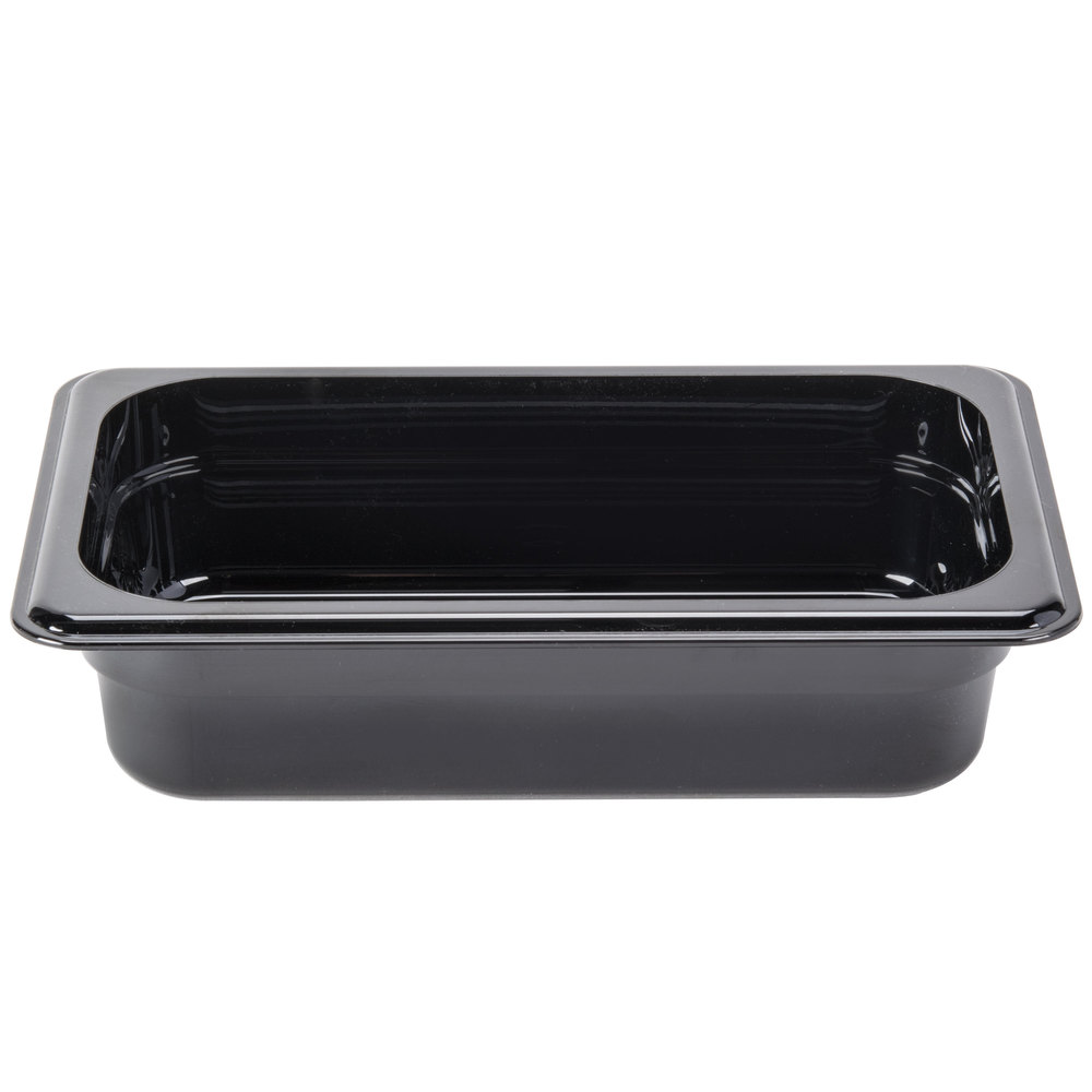 "Cambro 42HP110 H-Pan 1/4 Size Black High Heat Food Pan - 2 1/2"" Deep"