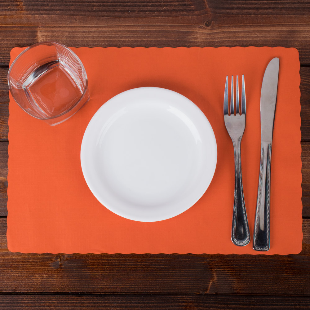 "Hoffmaster 310555 10"" x 14"" Bittersweet Orange Colored Paper Placemat with Scalloped Edge - 1000/Case"