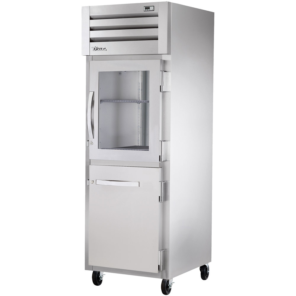 True STA1R-1HG/1HS Specification Series Stainless Steel and Glass Half Door Reach In Refrigerator - 31 Cu. Ft.