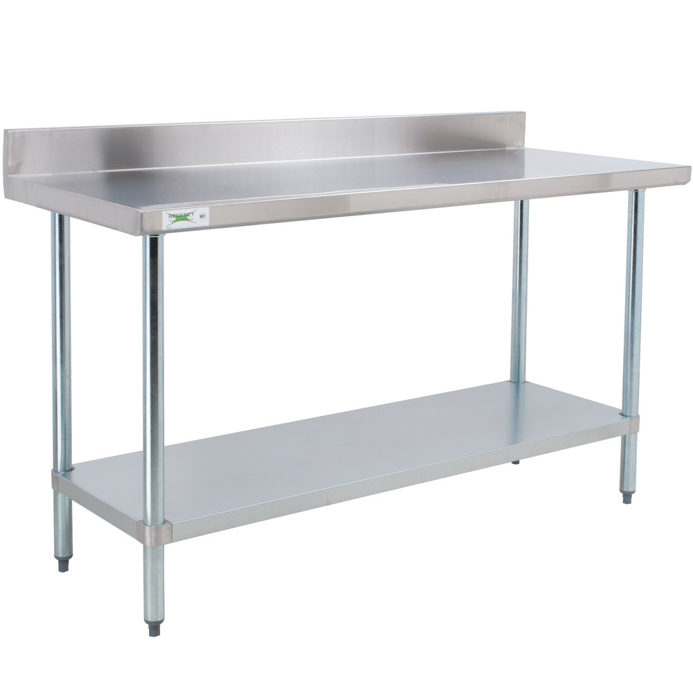 "Regency 24"" x 72"" 18-Gauge 304 Stainless Steel Commercial Work Table with 4"" Backsplash and Galvanized Undershelf"