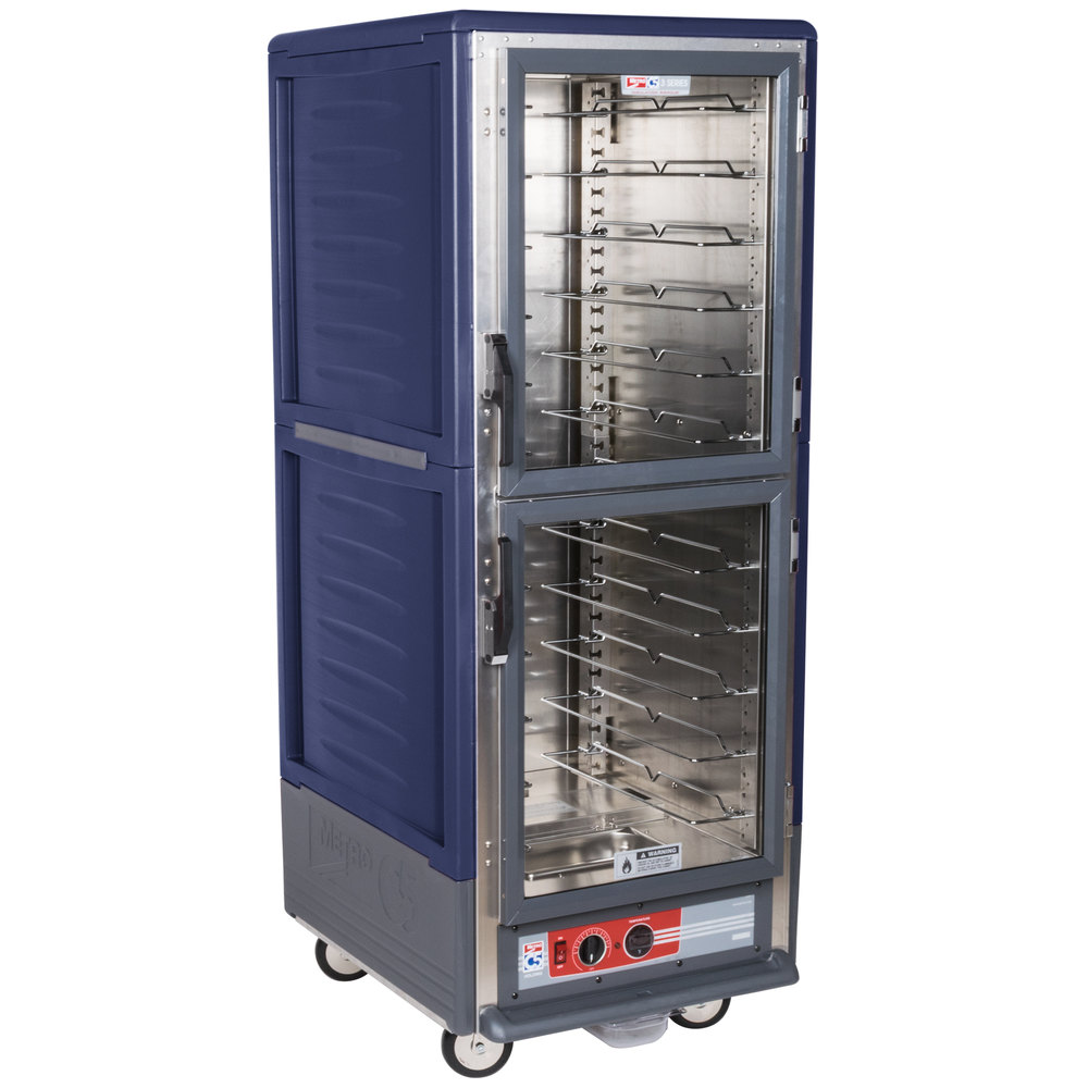 Metro C539-HDC-U-BU C5 3 Series Heated Holding Cabinet with Clear Dutch Doors - Blue
