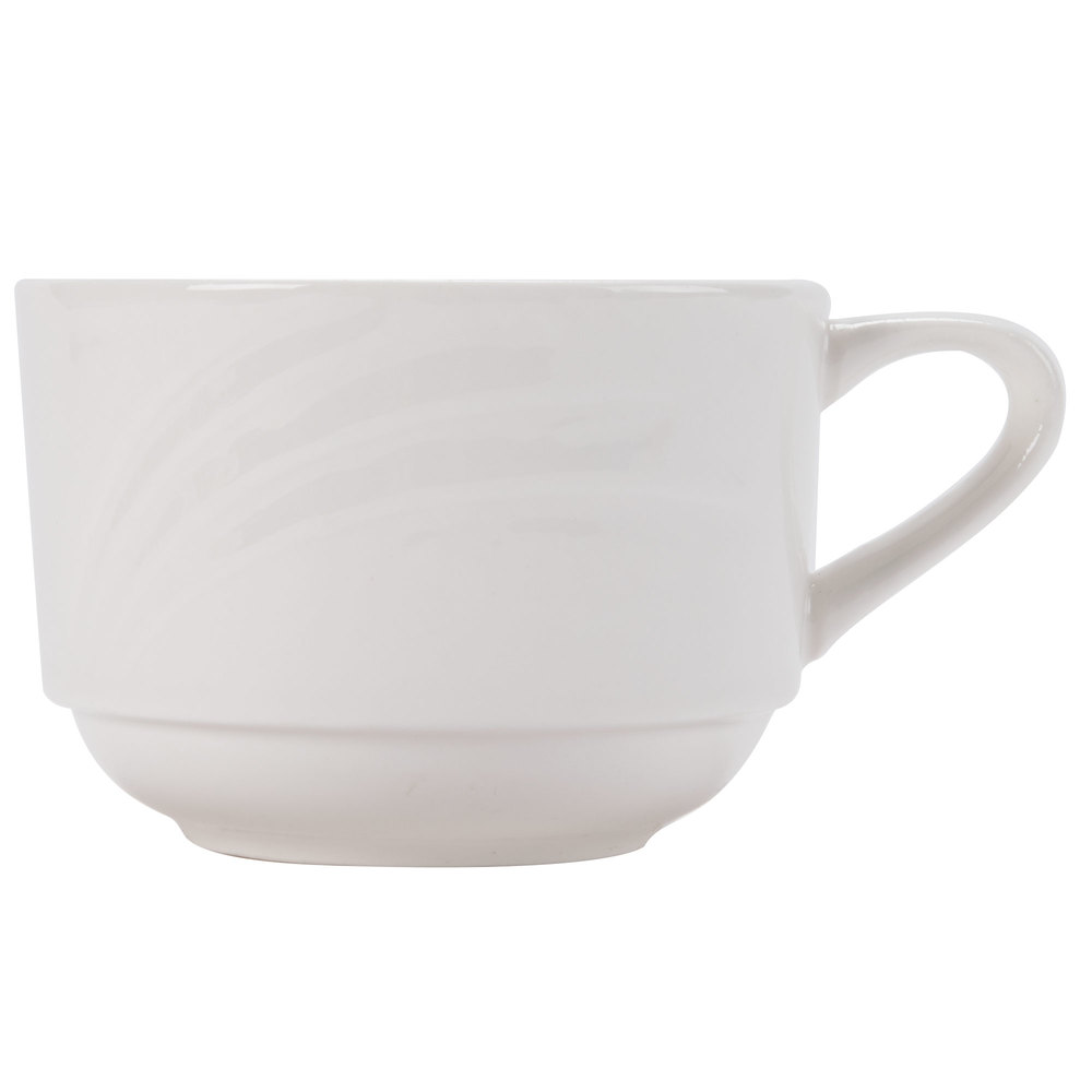 CAC GAD-1-S Garden State 7.5 oz. Bone White Porcelain Stacking Coffee Cup - 36/Case