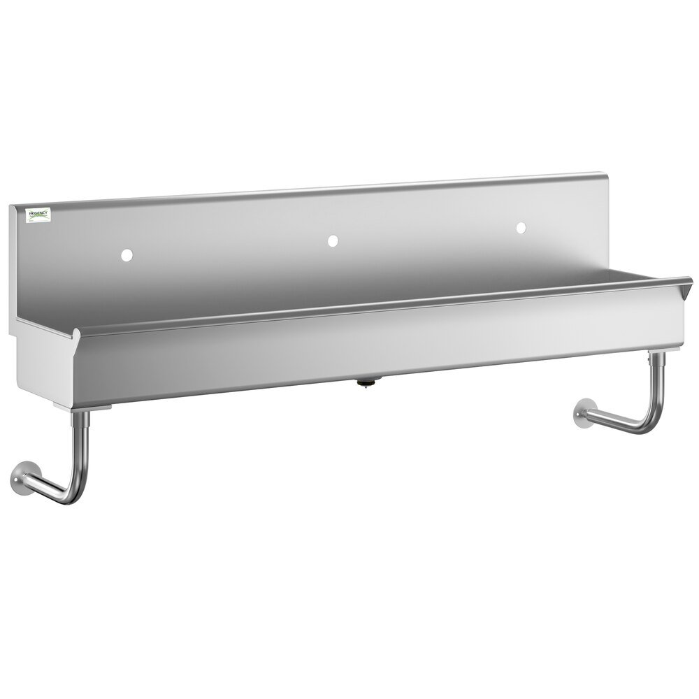 Regency 72 inch x 17 1/2 inch Single-Hole Multi-Station Hand Sink for 3 Wall Mounted Faucets