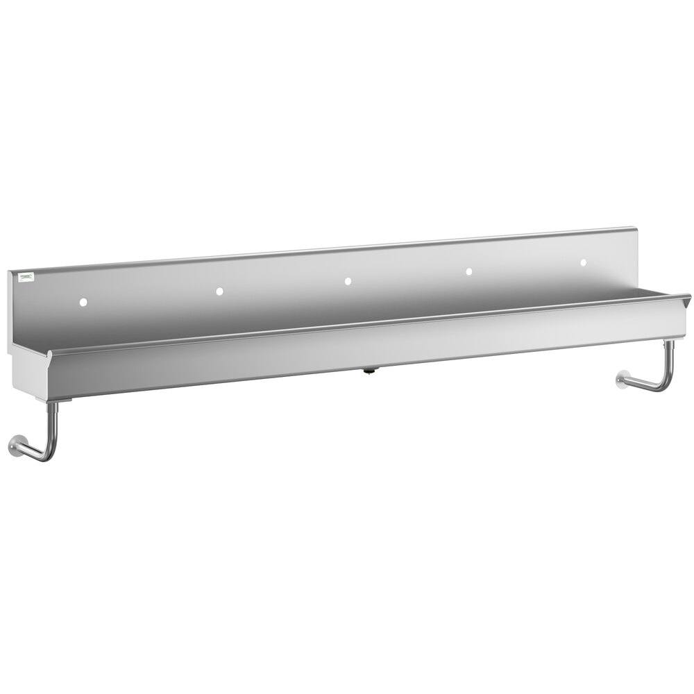 Regency 120 inch x 17 1/2 inch Single-Hole Multi-Station Hand Sink for 5 Wall Mounted Faucets