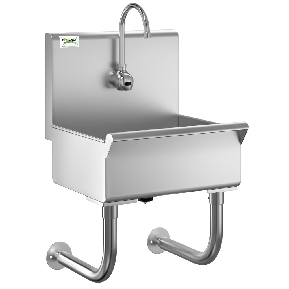 Regency 18 inch x 17 1/2 inch Single-Hole Hand Sink with Hands-Free Sensor Faucet
