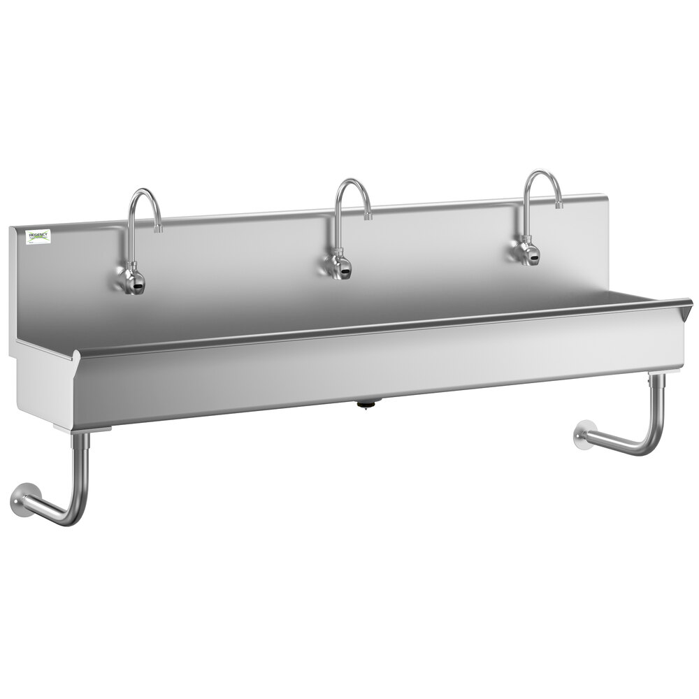Regency 72 inch x 17 1/2 inch Single-Hole Multi-Station Hand Sink with 3 Hands-Free Sensor Faucets