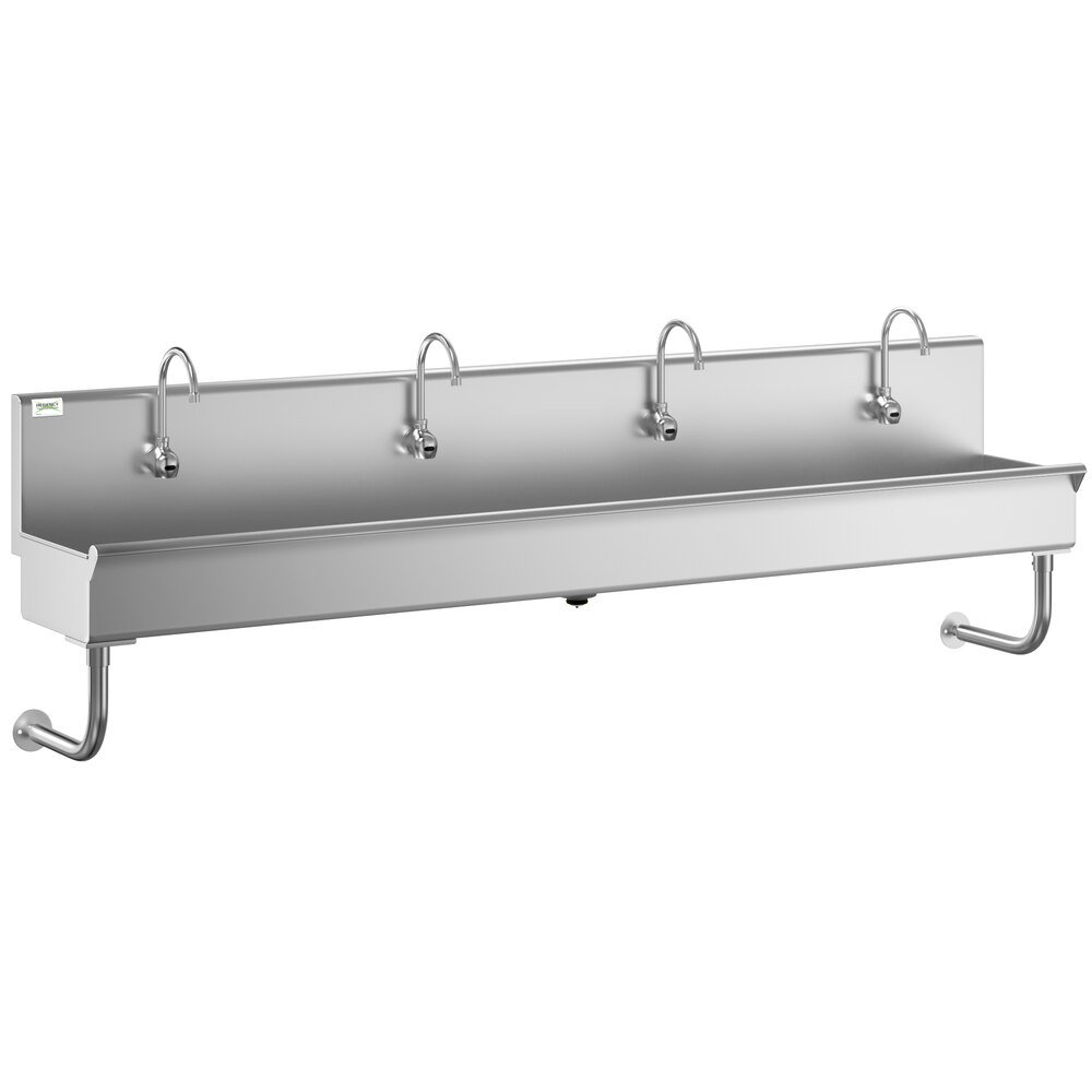 Regency 96 inch x 17 1/2 inch Single-Hole Multi-Station Hand Sink with 4 Hands-Free Sensor Faucets