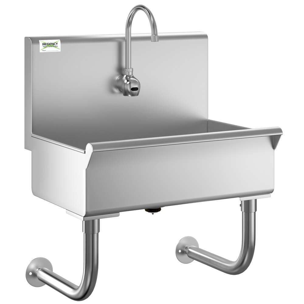 Regency 24 inch x 17 1/2 inch Single-Hole Hand Sink with Hands-Free Sensor Faucet