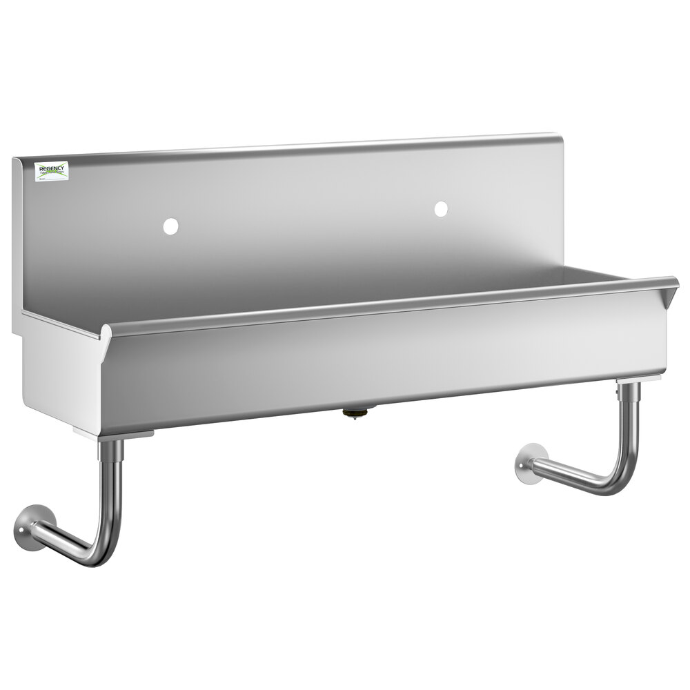 Regency 48 inch x 17 1/2 inch Single-Hole Multi-Station Hand Sink for 2 Wall Mounted Faucets