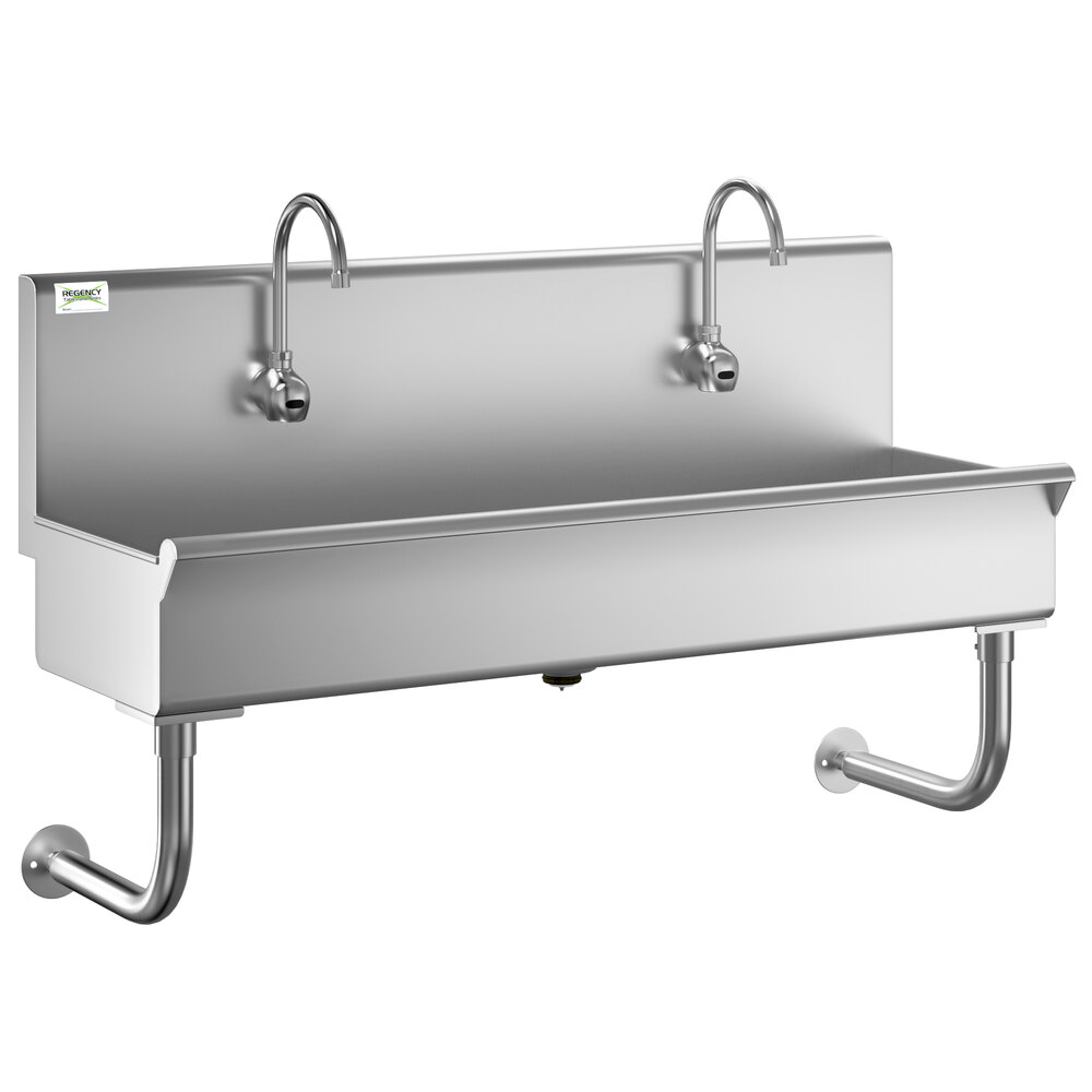 Regency 48 inch x 17 1/2 inch Single-Hole Multi-Station Hand Sink with 2 Hands-Free Sensor Faucets