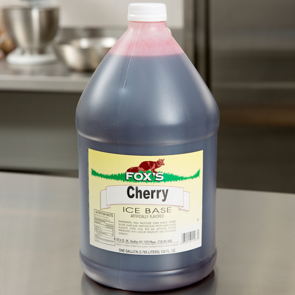 Fox's 1 Gallon Cherry Italian Ice Syrup Base - 4/Case