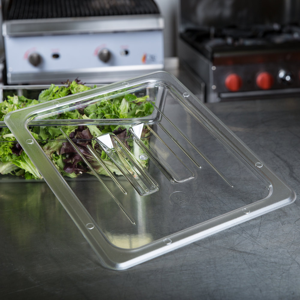 1/2 Size Clear Polycarbonate Food Pan Lid with Handle