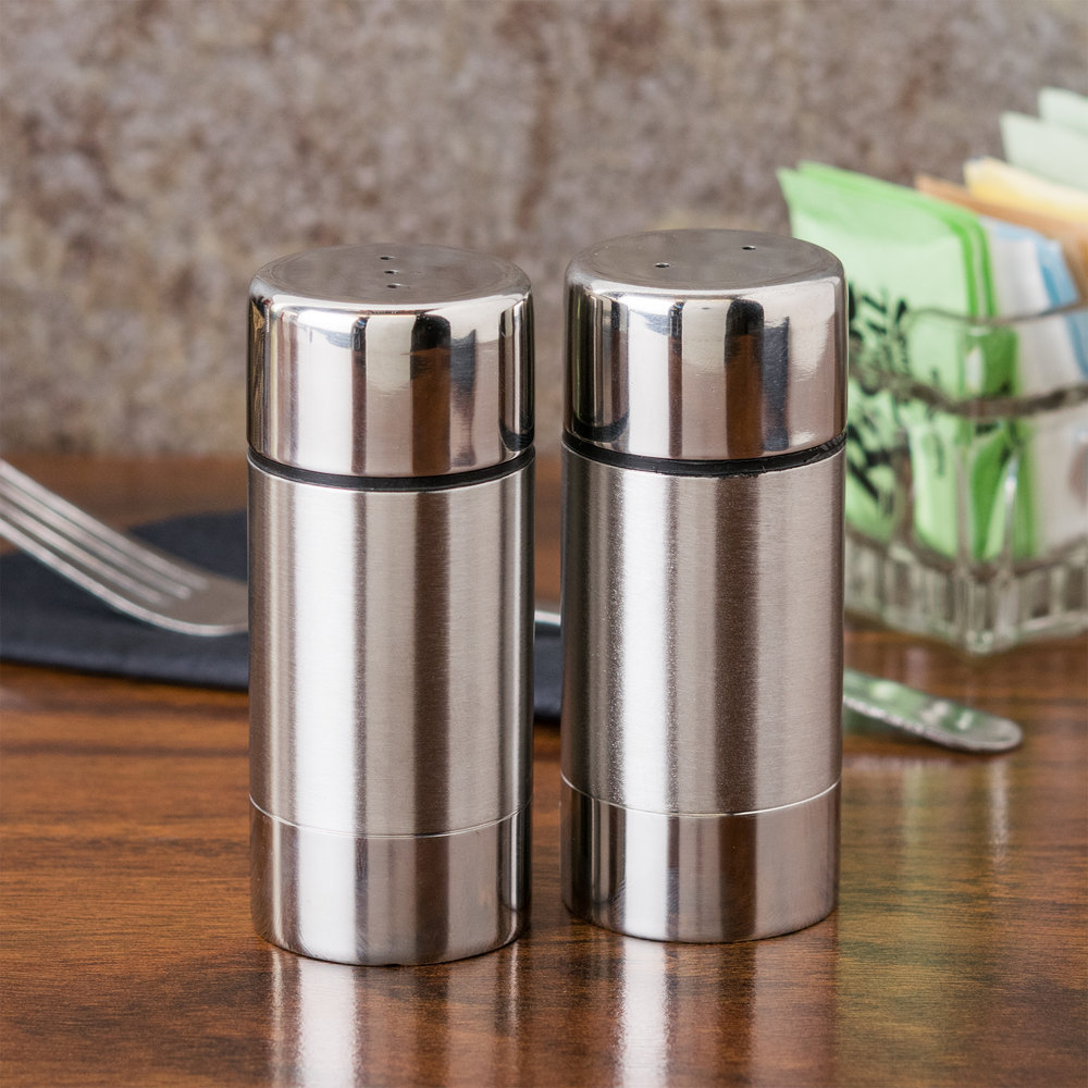 American Metalcraft SP35 1.5 oz. Stainless Steel Round Salt and Pepper Shaker Set